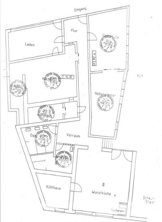 Gasthaus, Laden, Schlachthaus